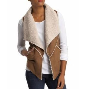 EUC SANCTUARY FAUX SUEDE SHEARLING VEST MEDIUM